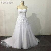 A Line Strapless Lace Appliqued Beaded Wedding Dresses 2014 Factory Custom Make High Quality Unique Designer