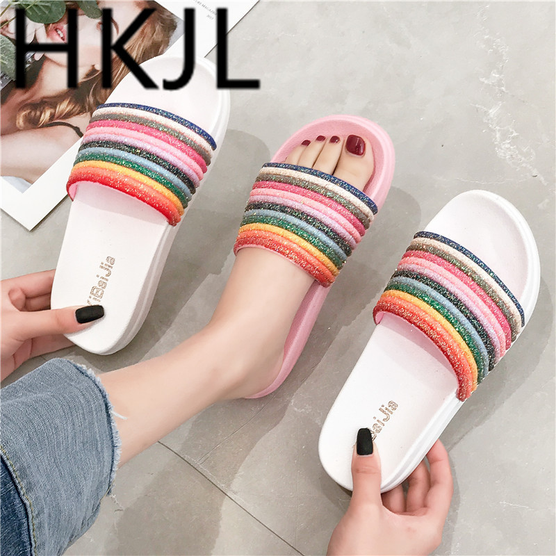 HKJL Rainbow slippers 2019 new spring and summer fashion outside wear thick bottom flip-flops with anti-slip A470