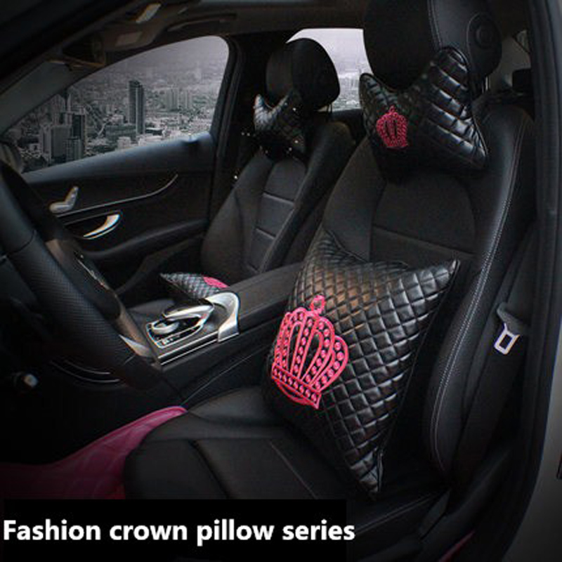 PU Leather Car Headrest Neck Pillow Crown Embroidery Seat Waist Support Cushion Car Interior Pillows Accessories For Women Girls