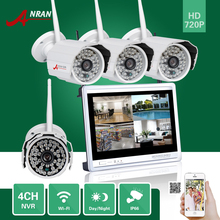 "1TB HDD ANRAN HDMI 4CH P2P 720P 12"" LCD Monitor WIFI NVR 48IR Outside Waterproof IP Wi-fi Digicam Surveillance CCTV System"