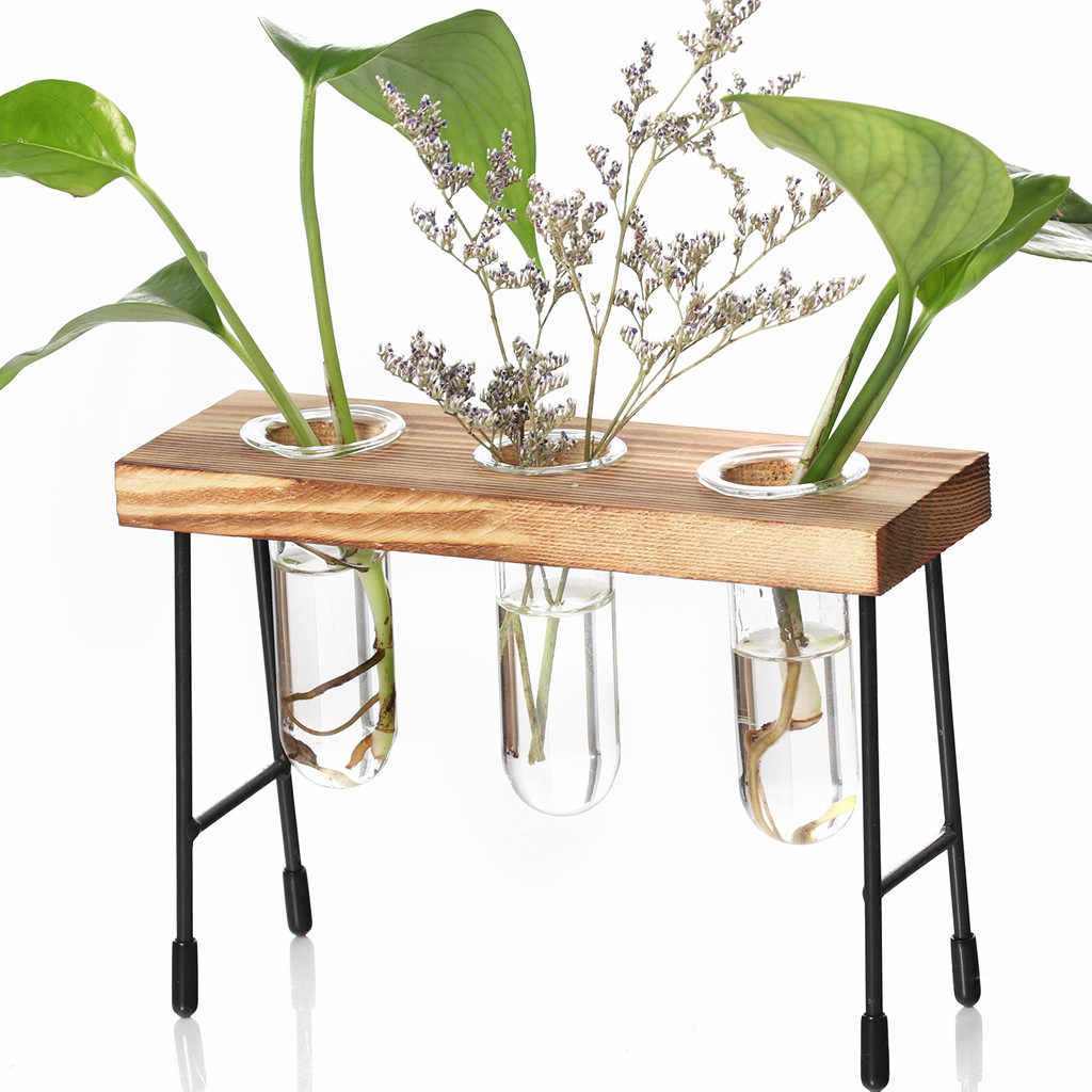 Maceteros Para Table Desk Test Tube Glass Hydroponic Brown Vase Flower Plant Pot Wooden Tray Ornament 19June17 P30