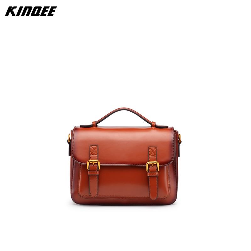 ФОТО KINQEE Brand Satchels Saddle Cow Leather Messenger Bags Vintage Oil wax Luxury Classic Handbags Women Female Paluester Inside