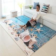 Niebieski styl śródziemnomorski muszelki plażowe 3D dywany z nadrukiem do salonu stolik do herbaty na podłogę do sypialni mata dywaniki dziecięce i dywaniki tanie tanio Nowoczesne Domu Hotel Sypialnia Modlitwa Dekoracyjne Łazienka Handlowych Pranie ręczne Mechanicznej wash Geometryczne