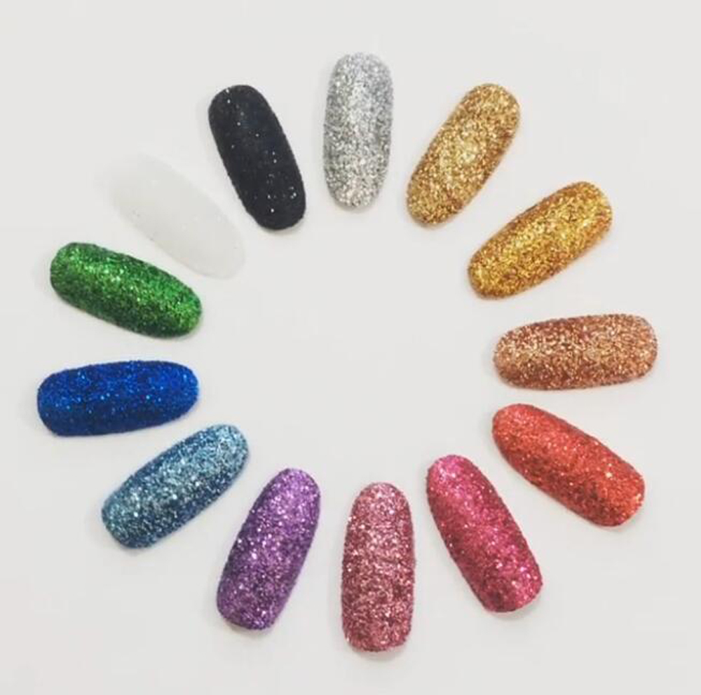 0 2MM 008 Size Metallic Regular Colors Glitters Dusts Acrylic Dazzling Glitters Powders For Nail Tatto Art Make Up Bulk Glitter in Nail Glitter from Beauty Health