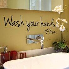 Вымойте Свои Руки Мама Home Decor Стикер Стены Наклейка Спальня Винил Росписи Искусства X7.19