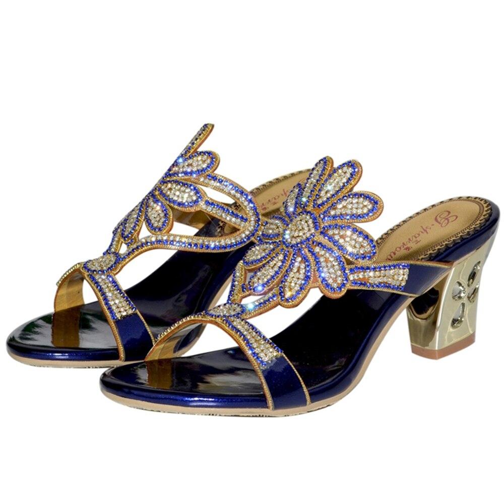 Thick En Mariage Pantoufles Robe Luxe Heels Mode golden Heels Confortables blue Femmes 2019 Heels De Soirée Sexy Partie Chaussures Véritable Nouvelles Cuir Black Strass UwO0p