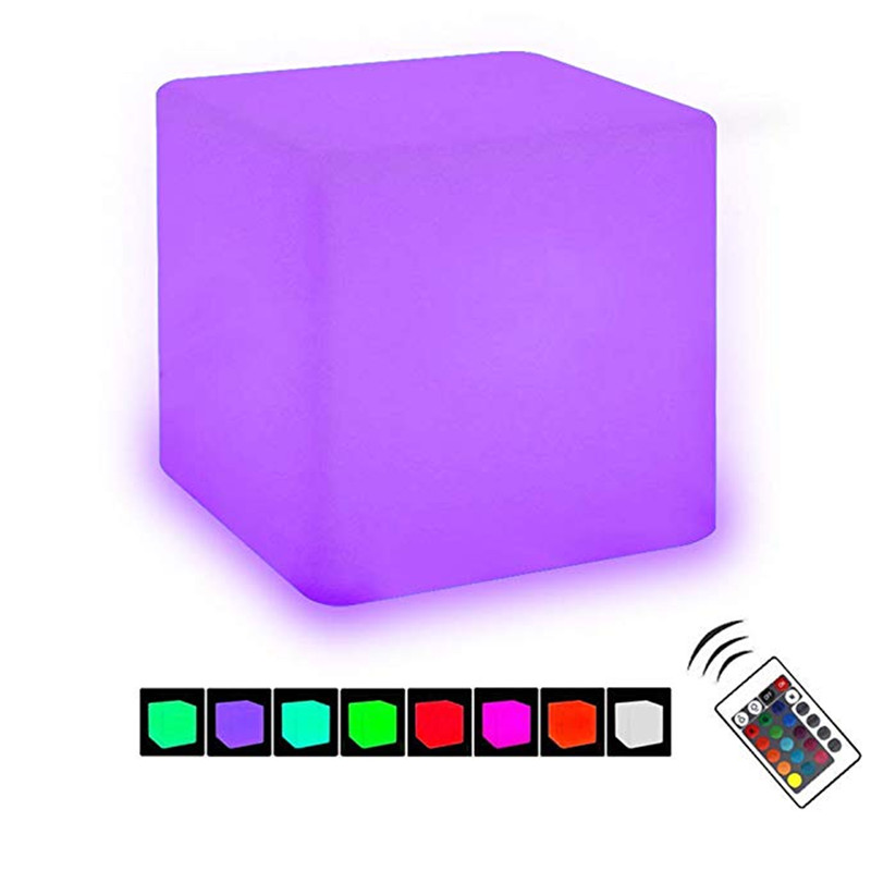 HZFCEW <font><b>LED</b></font> <font><b>Cube</b></font> Light Dimmable Night Light Mood Lamp Cordless Remote Control 16 Colors <font><b>LED</b></font> Decorative Lights image