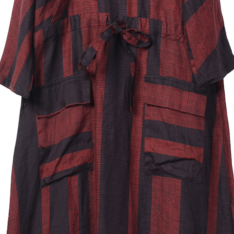 c9ff156c94a874 [Best Choice] Johnature Striped Cotton Linen Bandage Dress Vintage V-Neck Bat  Sleeve 2019 Spring New Casual High Quality Pockets Women Dress ...