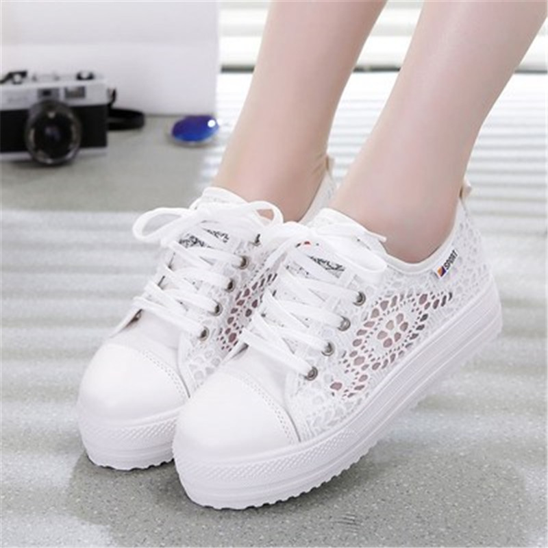 Platform Canvas-Shoes Floral Female Breathable Hollow Casual White/black Large-Size Summer