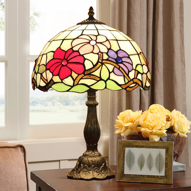 Us 122 18 18 Off 12inch Tiffany Style Table Lamp With Flowers And Leaves Patterns With Stained Glass Free Get 5w E27 Led Bulb Ac110v 220v In Table