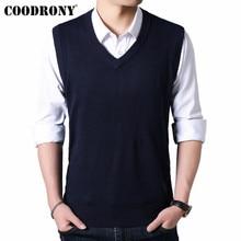 COODRONY мужской свитер осень зима теплый кашемировый шерстяной мужской свитер классический чистый цвет v-образный вырез без рукавов жилет Pull Homme 91020