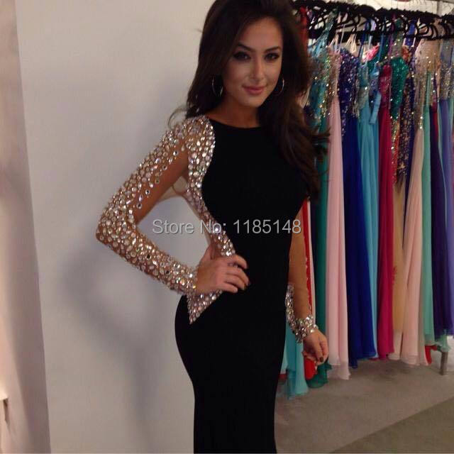 2017 black mermaid prom dress party dress tight spandex fabric free shipping 54a91549cee0