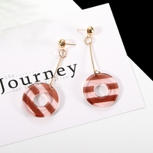 New Candy  Creative Fancy Arcylic Earrings Translucent Stripe Long Chain Original Women Jewelry Girl Gift