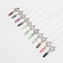 2017 Hot Mixed Vintage Silver Pentagram Bullet Hexagonal Column Necklace Pendant Natural Stone  Crystal Women Jewelry  Gift