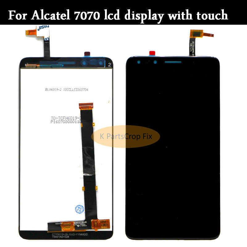 7070A OT7070 Black 7070I LCD Screen Mobile Phone and Digitizer Full Assembly for Alcatel Pop 4 7070 7070X 7070Q Color : White OT-7070