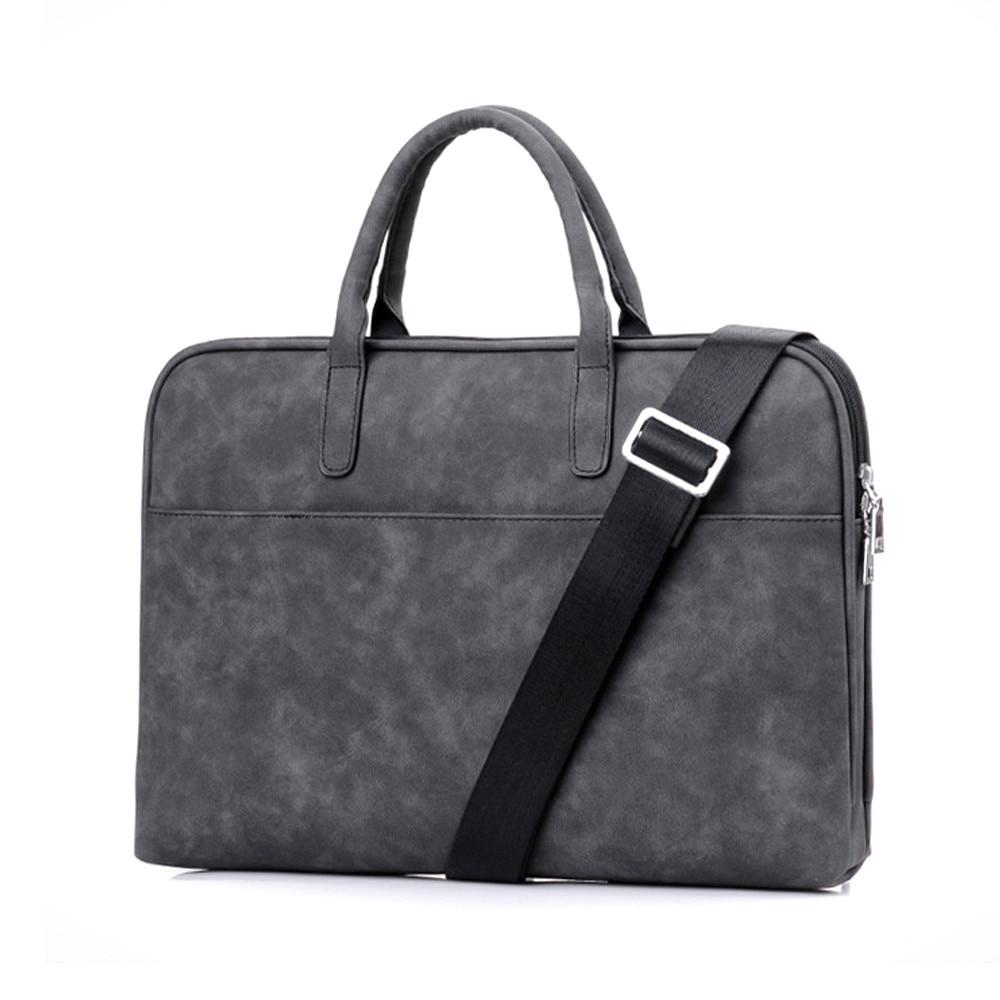 13.3 14 15.6 inch Notebook Briefcase Soft PU Leather Handbag Men Women Vogue Shoulder Messenger Bag for Macbook Air Pro vogue pu leather spliced color block hooded long sleeves hoodie for men