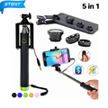 5in1 Kit 3in1 Clipe Len Olho de Peixe Grande Angular Macro lente do telefone móvel com teclado sem fio bluetooth extensível monopé selfie vara JZ08