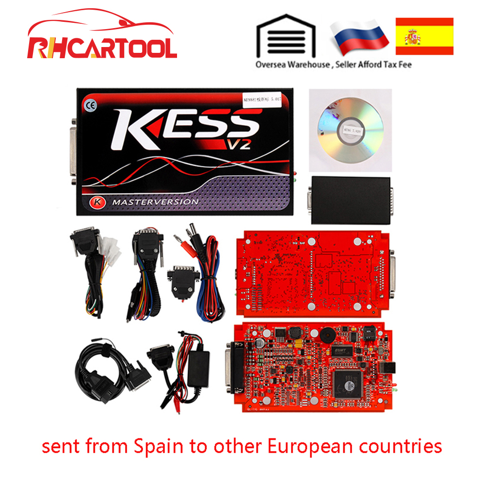 KESS V2 V5.017 EU Red PCB No Token Limited ECM Titanium KTAG V7.020 Master Version ECU Programming Tool Car/Tractor/Bike V4.036