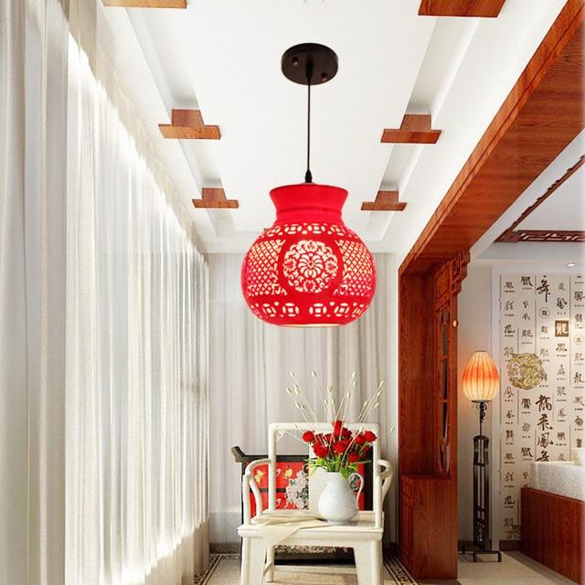 Chinese Balcony Dining Room Bar Corridor Creative Single Head Ceramic Red Lantern Pendant Lamp Lo8149