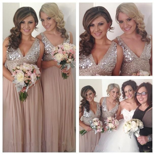 Bling Glitter Sequins Long Chiffon Bridesmaid Dresses A Line Y V Neck Maid Of