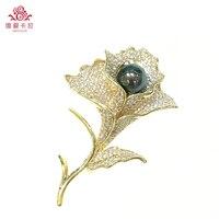 Красивый цветок формы черный Tahitan Южная морской воды жемчужное брошь. Благородный подарок для вашей девочки!