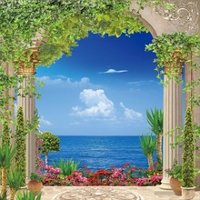 Laeacco Sea Arch Door Green Rattan Pillars Flowers Photography Backgrounds Customized Photographic Backdrops For Photo Studio