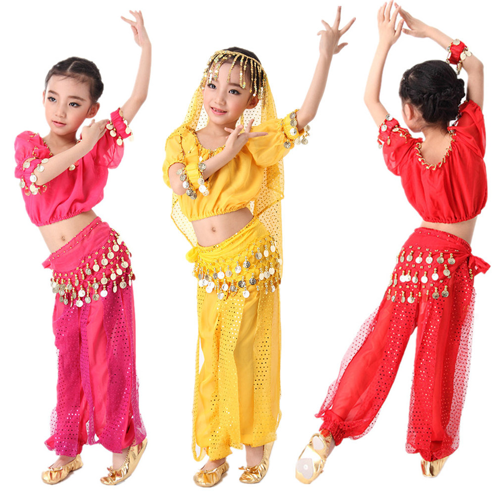 Belly Dance Costume Set Oriental Costumes Kids Children Belly Dance Costumes Girls Short Sleeves Dancing Costumes