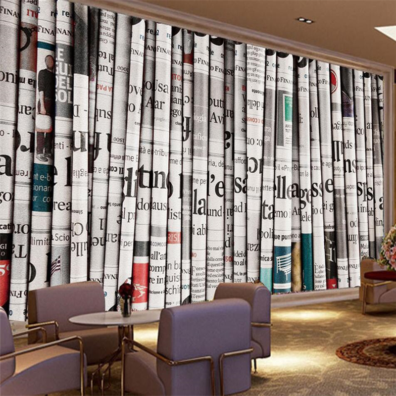 Beibehang 3D retro newspaper background wall custom large mural green silk cloth wallpaper papel de parede para quarto