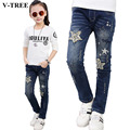 V-TREE 2017 Spring Girls Jeans Plus Velvet Leisure Pants For Girls 3-12 Years Old Girls Clothing Kids Ripped Jeans