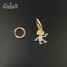 Ciliy Fashion Vintage Irregular Drop Earrings Rhinestone Cubic Zirconia Women robot Earrings Pendientes Mujer Moda F1516FY
