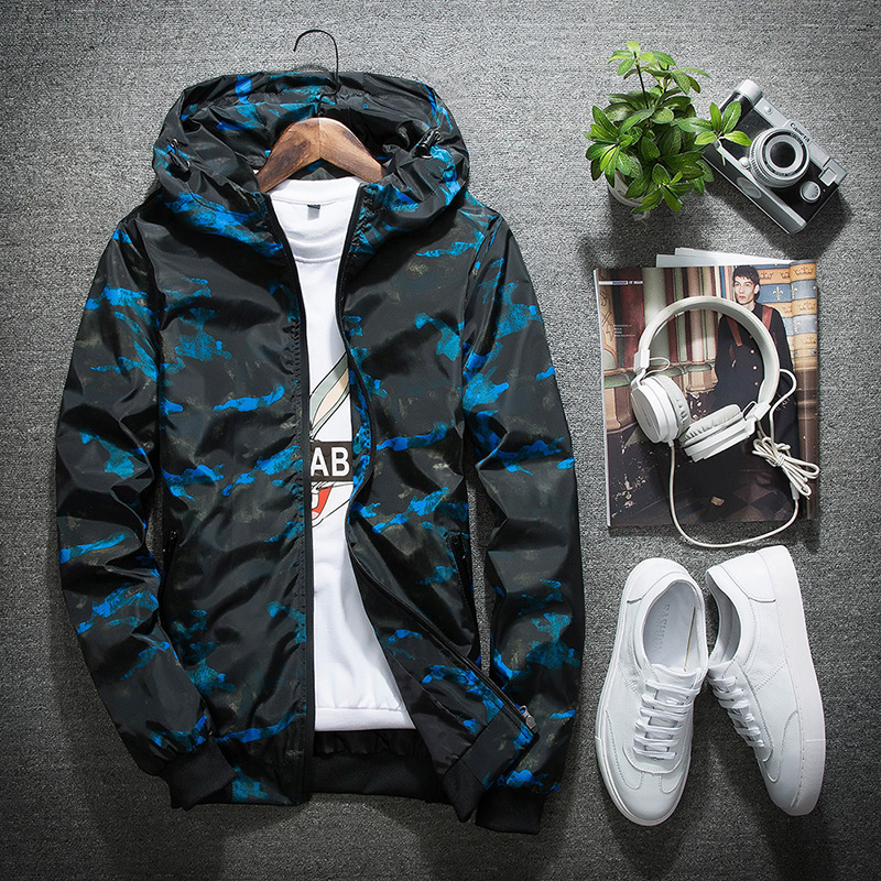 Camouflage Hooded Jacket Men/Women Breathable Ultra-light Mens Jackets and Coats Softshell Waterproof Windproof Jackets Blue