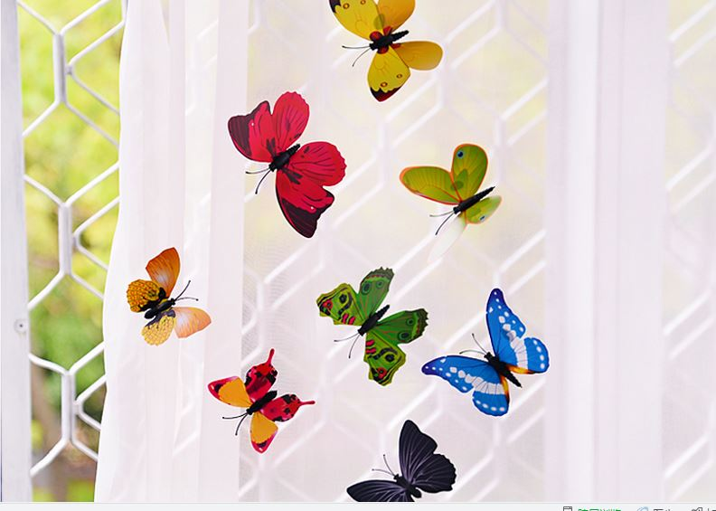 100pcs/lot Simulation Butterfly 5cm  Home Decoration Buterfly Wall Stickers Home Decal Magnet Crafts Holiday Decoration