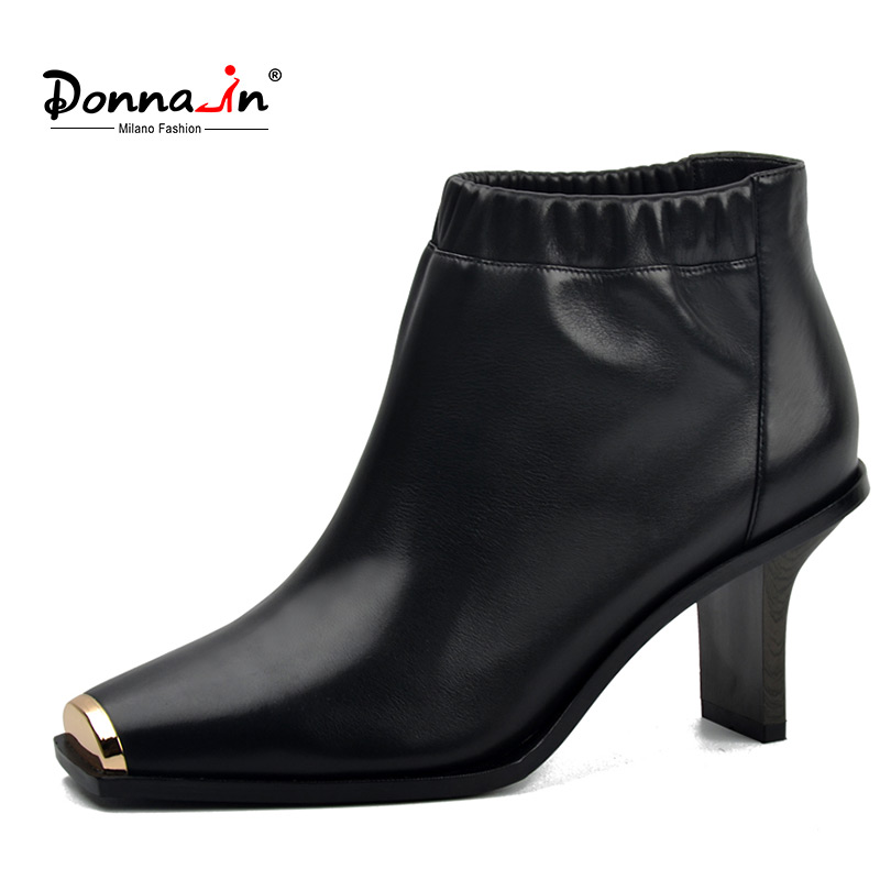 Donna-in genuine leather women boots metallic square toe high heel ankle boots fashion green natural calf leather ladies shoes new arrival superstar genuine leather chelsea boots women round toe solid thick heel runway model nude zipper mid calf boots l63