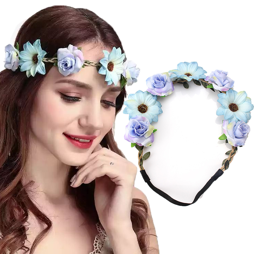 Aliexpress buy m mism sale fashion women bride flowers aliexpress buy m mism sale fashion women bride flowers headband bohemian style rose flower crown hairband ladies elastic beach hair accessories from izmirmasajfo