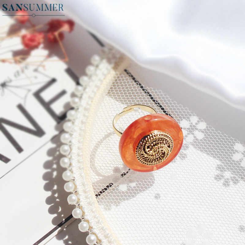 Anillos de mujer Vintage simples de resina acrílica con incrustaciones de Metal cobre redondo Anillos ajustables anillo para mujer Bague joyería para mujer Anillos