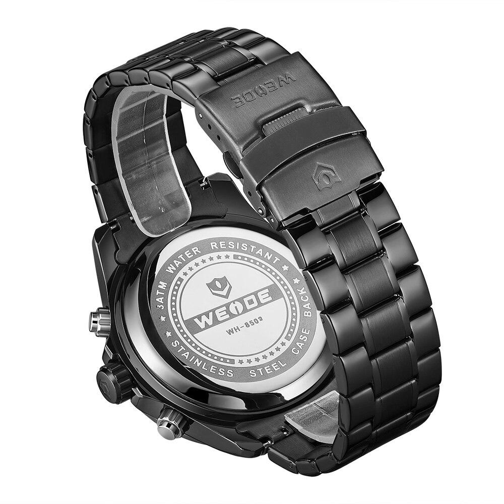 WEIDE Top Luxury Brand Quartz Watches Men LED Digital Clock Man Sports Military Stainless Steel Wrist Watch Relogio masculino 7