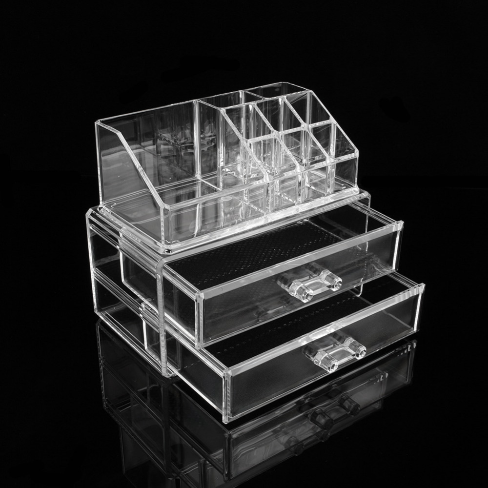 2 Drawers 9 Grids Makeup Cosmetics Organizer Clear Acrylic Jewelry