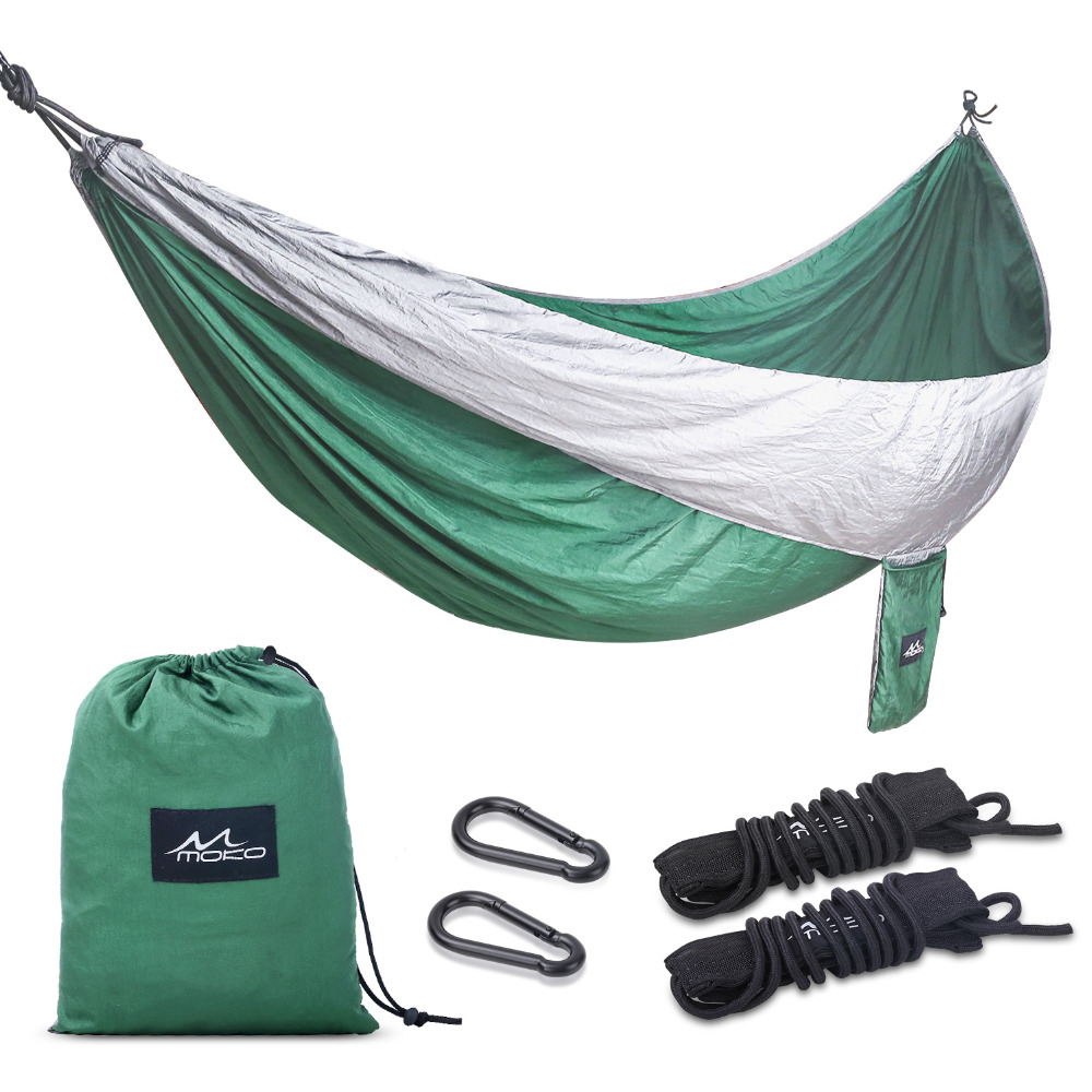 Camping Hammock, Moko Outdoor Double Hammock 2 Person Portable Parachute Hammock Swing with Straps Travel Hammock for Camping wholesale portable nylon parachute double hammock garden outdoor camping travel survival hammock sleeping bed for 2 person