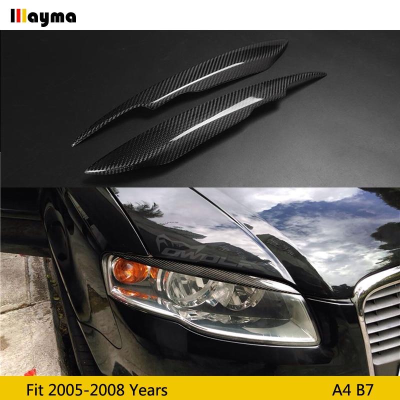 Carbon Fiber Car Headlight Eyebrow Cover Trim Sticker Head Lamp Eyelid for Audi A4 B7 2005 2006 2007 2008 year A4 CF eyebrow 2pc