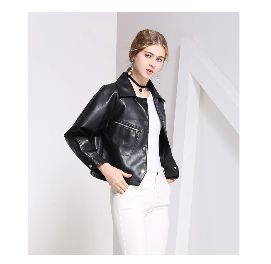 8d6e6bf9458480 ... Mosnow 2018 Ladies Slim Pu Leather Denim Jacket Fit Short Outerwear  Autumn And Spring Brand New ...