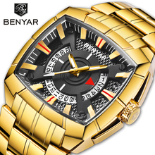 Benyar 2019 New Men's Watches Top Brand Luxury Men's Watch Business Watches Gold Stainless Steel Watch Men Clock Montre Homme sewor luxury watches men automatic self wind watch full stainless steel gold watch fashion casual clock men s dress montre homme