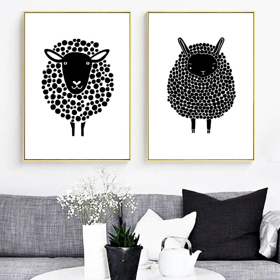 ᐊverasun Moutons Noir Blanc Nordique Affiche Toile Peinture