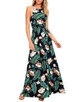 2018 New Arrival Women Floral Maxi Dress Long Boho Halter Strap Summer Beach Dresses Sexy Backless