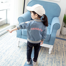 Embroidery letter fashion hot sale fall boutique kids girl baseball jacket children coat hot sale 2016 new style letter fashion children boy girl baseball uniform 100% cotton active kids clothes set