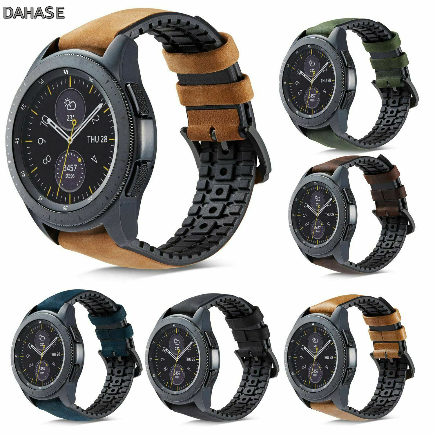 <font><b>Silicone</b></font> Genuine Leather Watchband <font><b>20mm</b></font> 22mm for Samsung Galaxy Watch 42mm 46mm R810/R800 Quick Release <font><b>Band</b></font> Strap <font><b>Bracelet</b></font> image