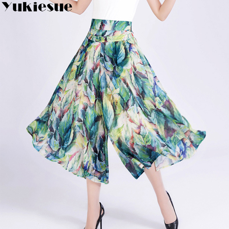 Floral printed   wide     leg     pants   capri women 2018 summer autumn high waist chiffon elastic waist straight trousers female Plus size