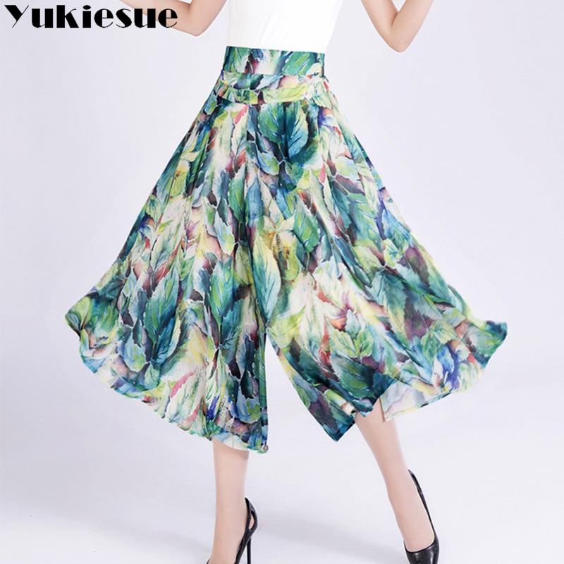 Floral printed wide leg pants capri women 2018 summer autumn high waist chiffon elastic waist straight trousers female Plus size