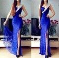 Un hombro del azul real vestido de Prom armarios 2016 raja del lado del cordón vestido Formal para adolescentes