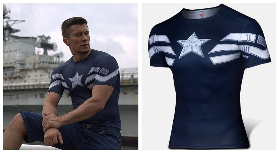 Captain America T-Shirt Winter Soldier GYM Bodybuilding Tees Workout Fitness Top Short Sleeve High Elastic - Online Store 939240 store