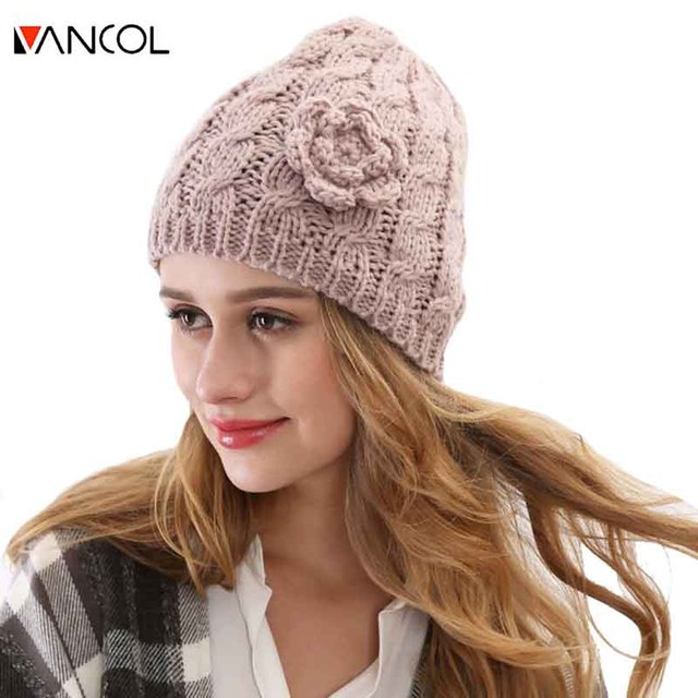 2015 Fashion Toucas Wool Winter Hats  Women Gorro Warm Chapeau Fashion Skullies Beanie Ladies Thick  Flower Design Wool Beanie
